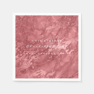 Rose Gold Red Bean Maroon Marble Party Paper Napkin