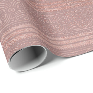 Rose Gold Red Bean Skinny Blush Stripes Celtic Wrapping Paper