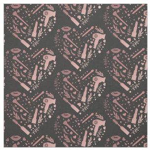Rose Gold Salon Heart Logo Hair Stylist Fabric