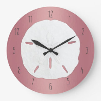Rose Gold Sand Dollar Beach Numbers Large Clock