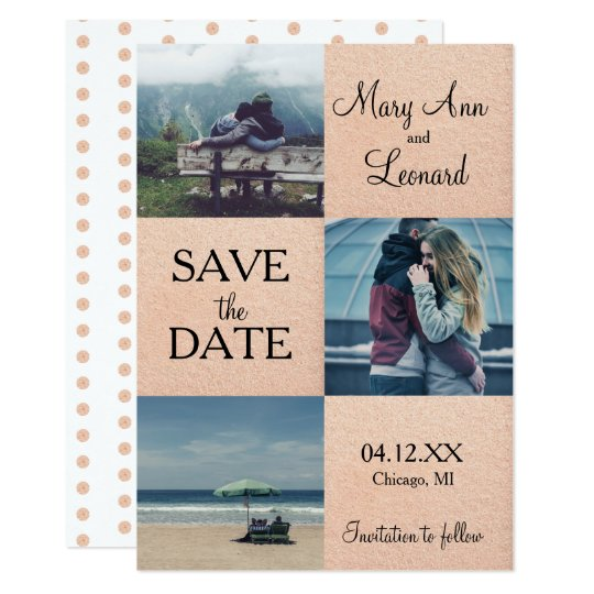 Rose gold Save the date photo card