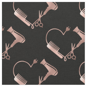 Rose Gold Scissors Hair Stylist  Salon Heart Fabric