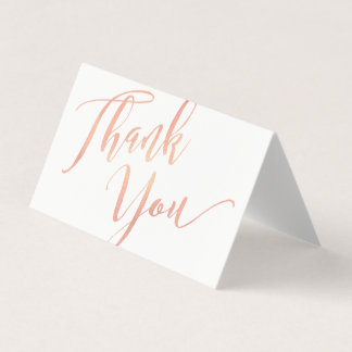 Rose Gold Script Font Calligraphy Thank You Business Card