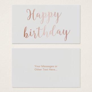 "Rose Gold Script ""Happy Birthday"" Classy Grey Business Card"