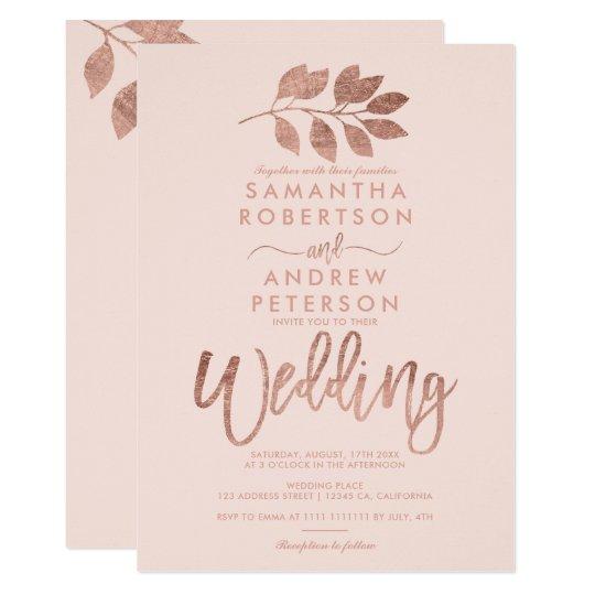 Rose gold script leaf blush pink wedding card