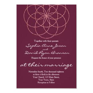 Rose Gold Seed of Life Sacred Geometry Wedding Card