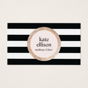 Stripes nail business cards business card printing zazzle ca rose gold sequin black white striped beauty salon business card reheart Image collections
