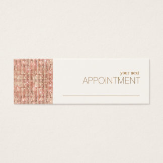 Rose Gold Sequins Hair Salon Appointment Reminder Mini Business Card