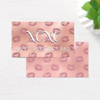 Rose Gold Sexy Kisses Valentine's Day Business Card