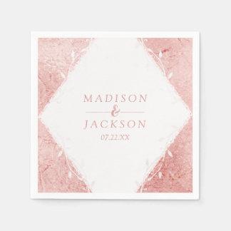 Rose Gold Shimmer Metallic Foil Monogram Wedding Disposable Napkin