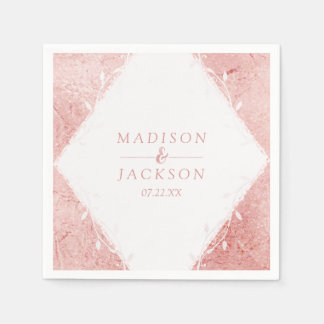 Rose Gold Shimmer Metallic Foil Monogram Wedding Napkin