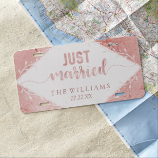 Rose Gold Shimmer Metallic Wedding Just Married License Plate