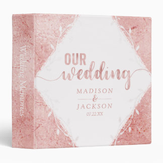 Rose Gold Shimmer Metallic Wedding Photo Album Vinyl Binder