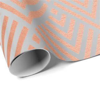Rose Gold Silver Gray Metallic Art Deco Copper Wrapping Paper