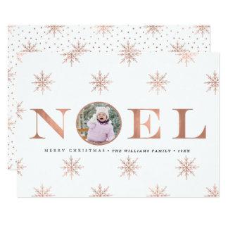 Rose Gold Snowflake Noel Christmas Photo Cards