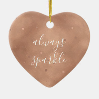 Rose Gold Sparkle Ceramic Ornament