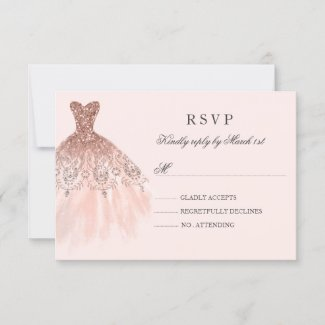 Rose Gold Sparkle Dress Quinceanera RSVP