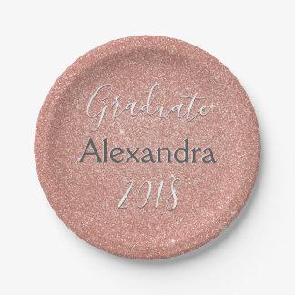 Rose Gold Sparkle Glitter Class of Graduation Paper Plate