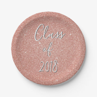 Rose Gold Sparkle Glitter Class of Graduation Paper Plate