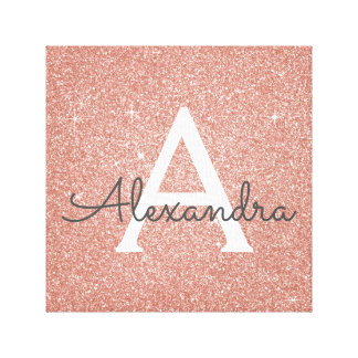 Rose Gold Sparkle Glitter Monogram Name & Initial Canvas Print