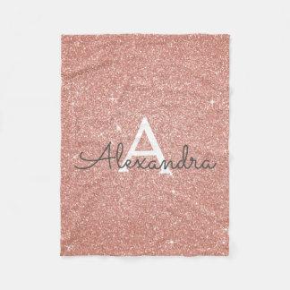 Rose Gold Sparkle Glitter Monogram Name & Initial Fleece Blanket