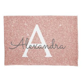 Rose Gold Sparkle Glitter Monogram Name & Initial Pillowcase