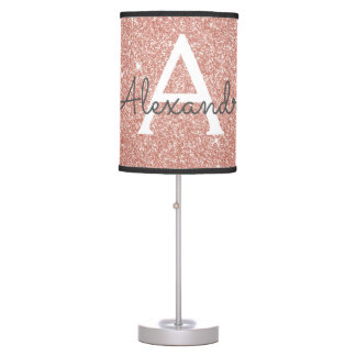 Rose Gold Sparkle Glitter Monogram Name & Initial Table Lamp