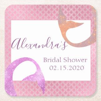 Rose Gold Sparkle Mermaid Bridal Shower Coaster