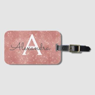 Rose Gold Sparkle Monogram Name Luggage Tag