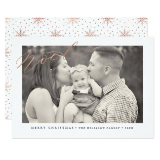 Rose Gold Sparkle Noel Christmas Photo Cards