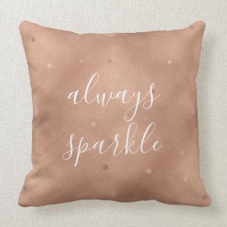 Rose Gold Sparkle Throw Pillow
