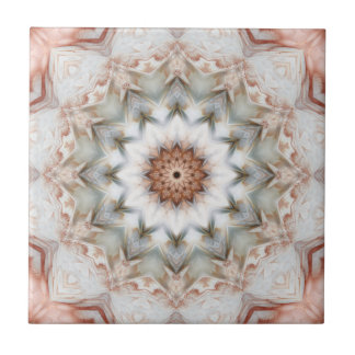Rose Gold Star Feather Geometric Pattern Tile