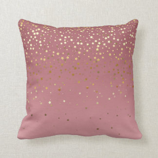 Rose Gold Stars And Marsala Gradient Throw Pillow