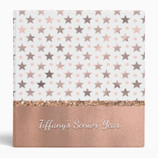 Rose Gold Stars Custom Binder