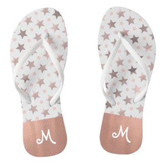 Rose Gold Stars Monogrammed Flip Flops