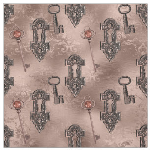 Rose Gold Steampunk Lock and Key   Chic Decoupage Fabric