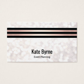 Rose Gold Striped Modern White Bokeh Glitter Business Card