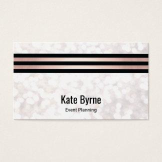Rose Gold Striped Modern White Bokeh Glitter Business Card