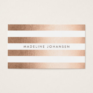 Rose Gold Stripes Hair Stylist Business Cards