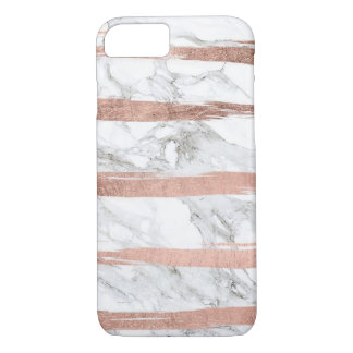 Rose Gold Stripes on Marble iPhone 7 Case