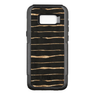 Rose-Gold Stripes Pattern On Black OtterBox Commuter Samsung Galaxy S8+ Case