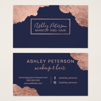 Rose gold strokes blue hair makeup typography business card