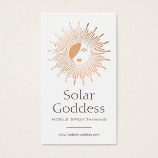 Rose Gold Sun Goddess Girl Spray Tanning Salon Business Card