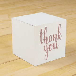 Rose gold thank you favor boxes, glitter favor box
