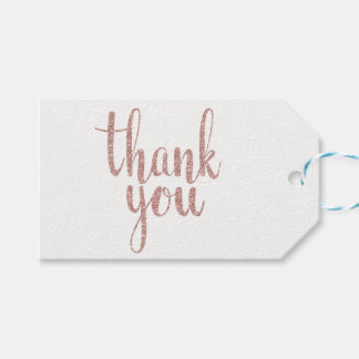 Rose gold thank you favor tags, glitter, horizonta gift tags