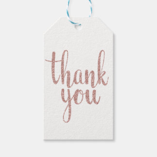 Rose gold thank you favor tags, glitter, vertical gift tags