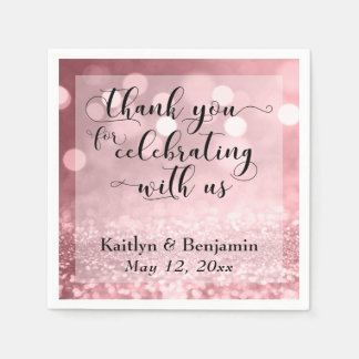 Rose Gold Thank You for Celebrating with Us! Disposable Napkin