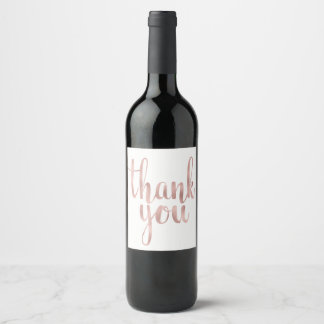 Rose gold thank you wine label, foil wine label