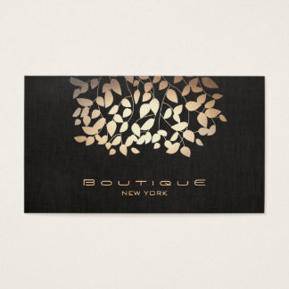 Rose Gold Tree Leaves Black Business Card