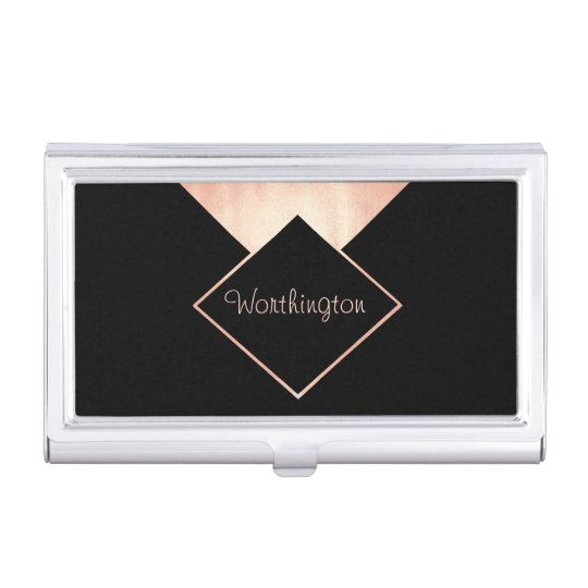 Rose Gold Trendy Modern Professional Business Business Card Holder